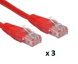 Patch kabel UTP Cat 5e, 10m, crveni, 3 kom