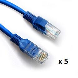 Patch kabel UTP Cat 5e, 5m, plavi, 5 kom