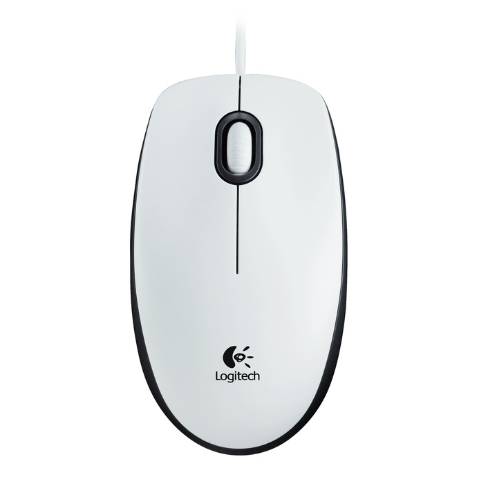 Logitech M100, optički miš, bijeli