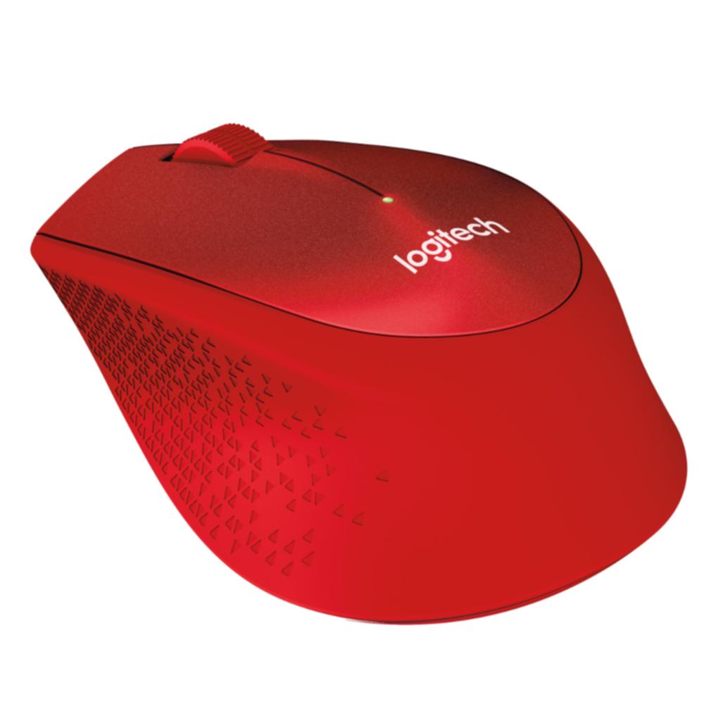 Logitech M330 Silent Plus, optički miš, crveni