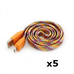 Kabel USB za android smartphone, naranč, 1m, 5 kom