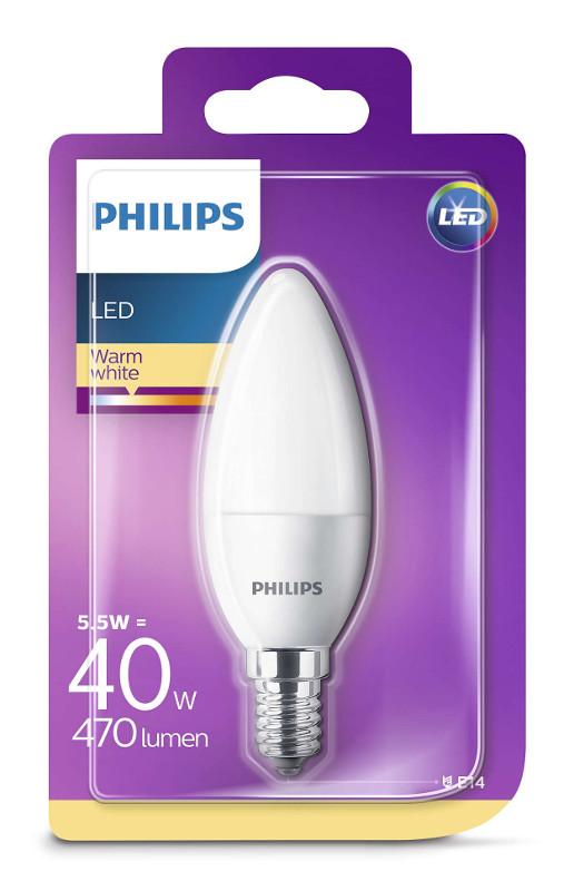 Philips LED žarulja, E14, B35, topla, 5.5W, mutna
