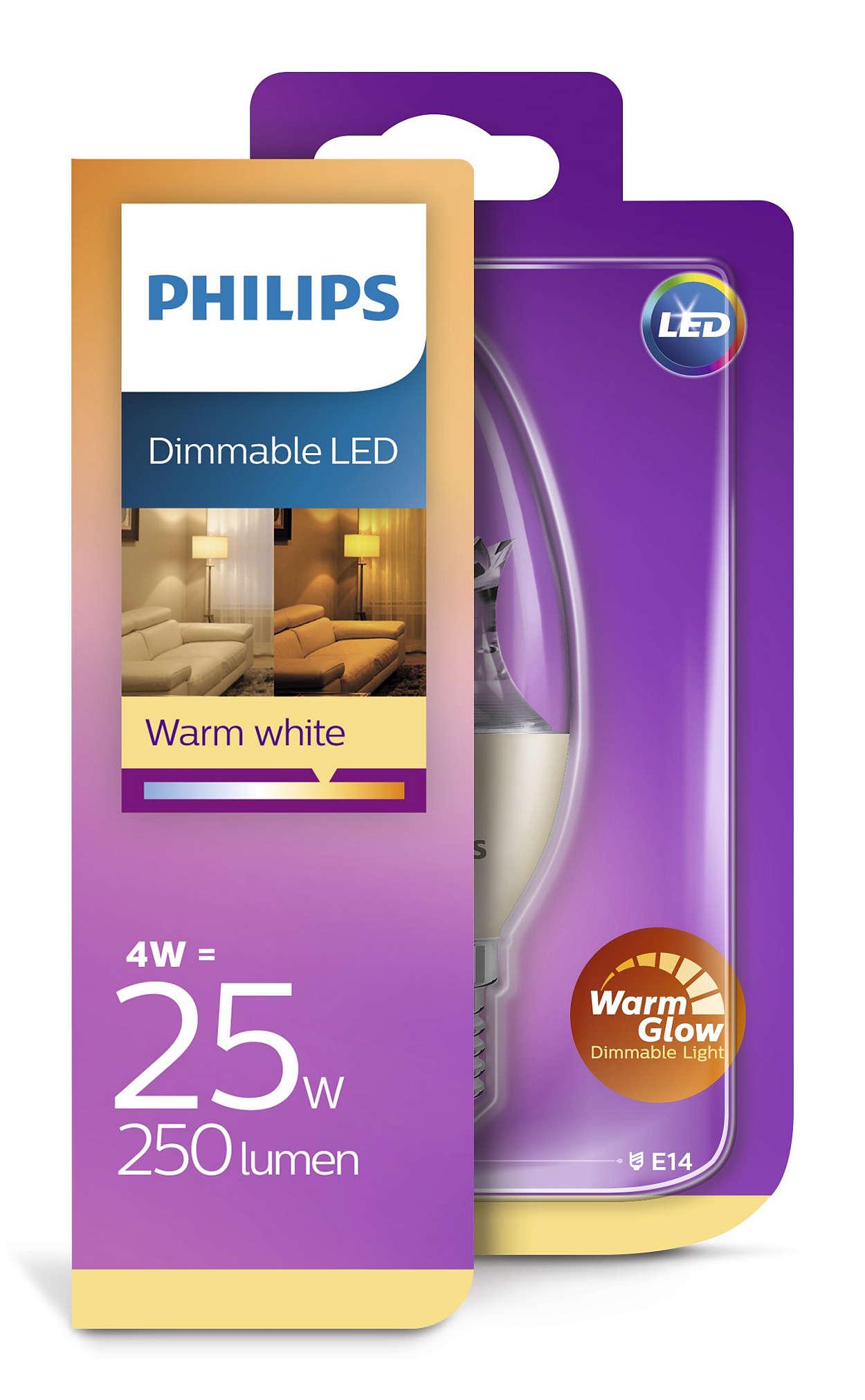 Philips LED žarulja, E14, B38, topla, 4W, dim