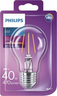 Philips LED žarulja, E27, A60, topla, 4W, prozirna
