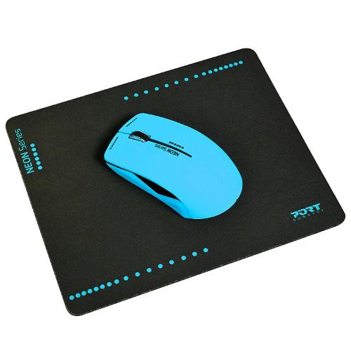 Port miš NEON bežični + podloška, plavi