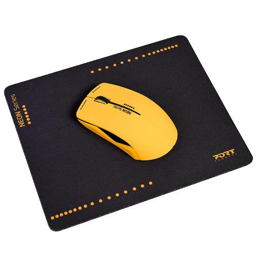 Port miš NEON bežični + podloška, narančasti