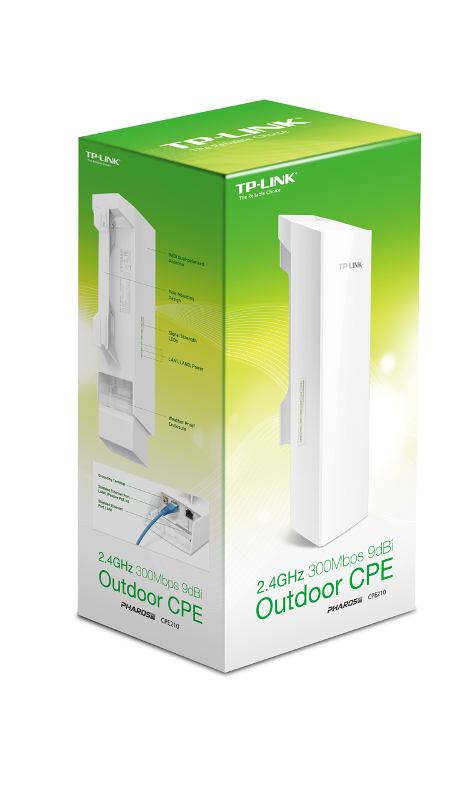 TP-Link CPE210, 2.4GHz 300Mbps 9dBi Outdoor CPE