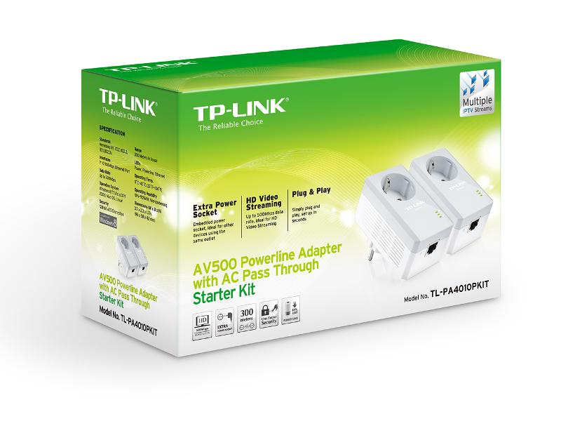 TP-Link PA4010P KIT, 500Mbps powerline s utičnicom