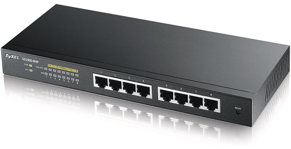 ZyXEL GS1900-8, 8-port PoE Gbit Web Smart Switch