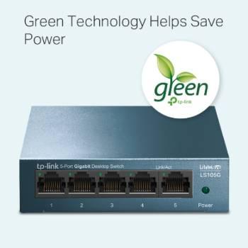 TP-Link LS105G, 5-Port Gigabit Switch, steel