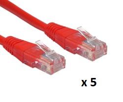 Patch kabel UTP Cat 5e, 5m, crveni, 5 kom