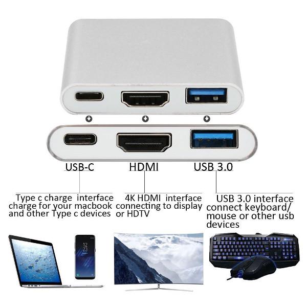 Asonic Hub USB Tip C na HDMI, USB 3.0, USB Tip C