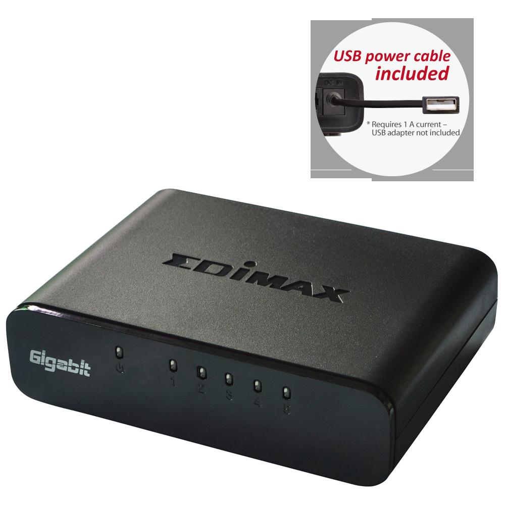 Edimax Gigabit SOHO switch 5500G v3,5-port, USB