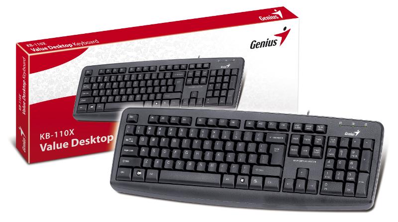 Genius KB-110X, otporna na prolijevanje, crna, USB