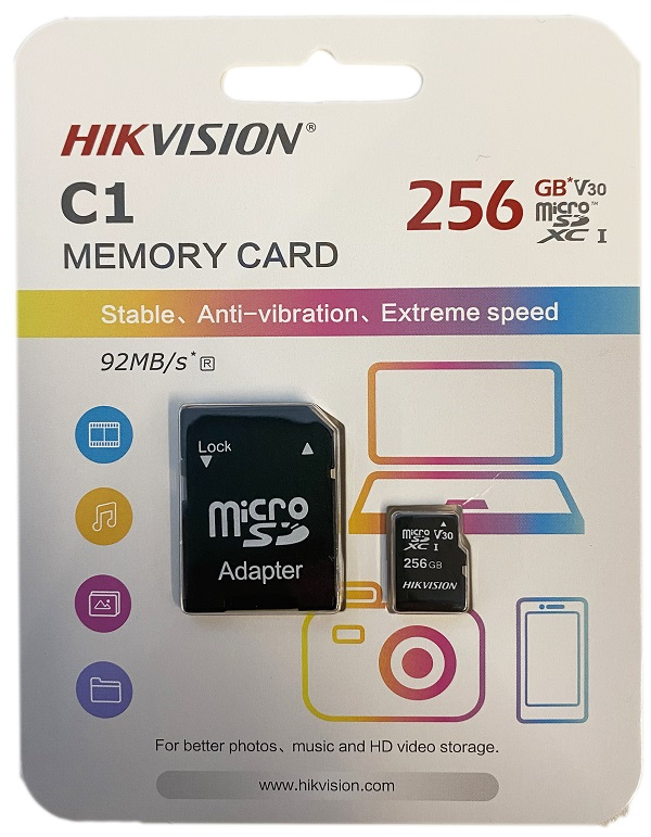 Hikvision microSDHC, Class10, 256GB + SD adapter