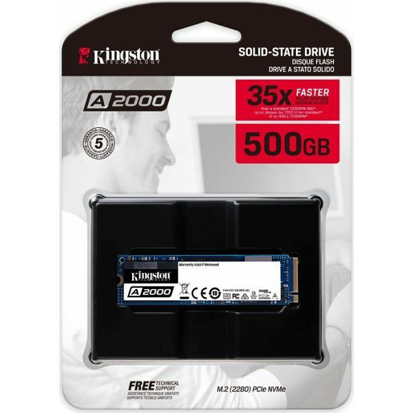 Kingston A2000 NVMe 500GB,R2200/W2000, M.2 2280