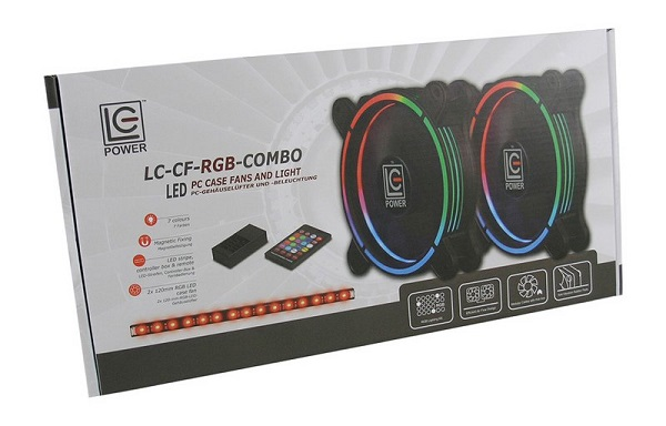 LC-Power RGB kit 2 x 120mm ventilator, LED traka