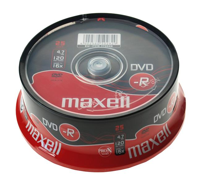 Maxell DVD-R 16x, 4.7GB 25 kom spindle
