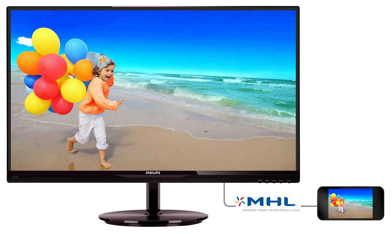 "Philips 27"" 274E5QHSB IPS, VGA, HDMI, MHL"
