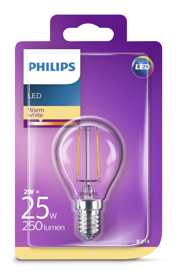 Philips LED žarulja, E14, P45, topla, 2W, prozir