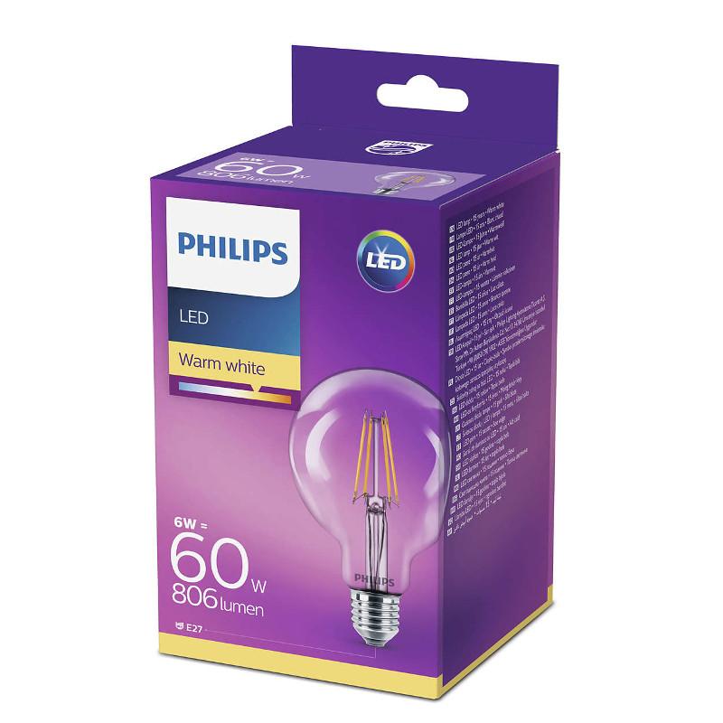 Philips LED žarulja, E27, G93, topla, 6W, prozirna