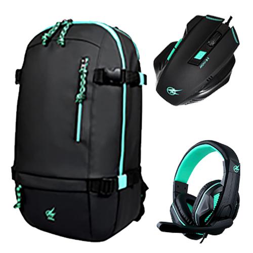 """Port gejmerski ruksak 15.6""""+ miš + slušalice, crni"""