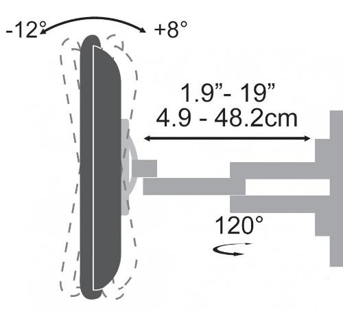 "SBOX izvlačno okretni nosač 37""-70"", do 45kg"