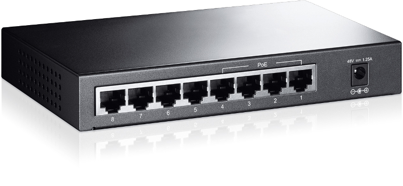 TP-Link TL-SF1008P, 8-port 10/100 PoE switch