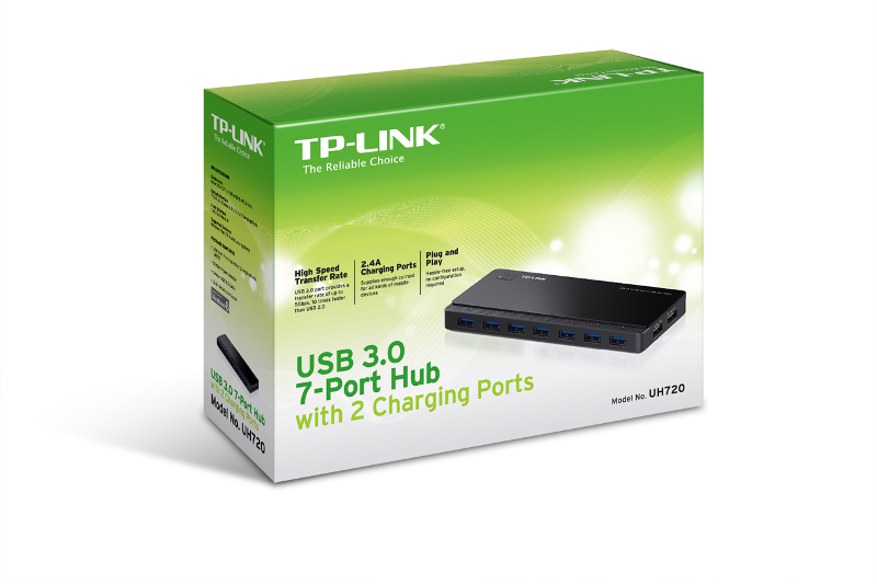 TP-Link UH720, 7-ports USB 3.0 hub + 2 power