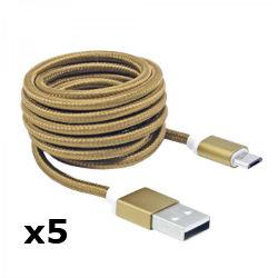Kabel USB za android smartphone, zlatn, 1,5m, 5kom